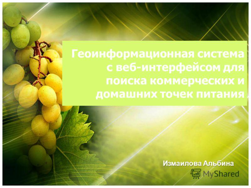 Геоинформационная система с веб-интерфейсом для поиска коммерческих и домашних точек питания Измаилова Альбина