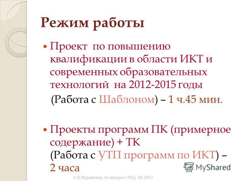 Режим работы Н.В.Журавлева, гл.методист РКЦ, ХК ИРО Проект по повышению квалификации в области ИКТ и современных образовательных технологий на 2012-2015 годы (Работа с Шаблоном) – 1 ч.45 мин. Проекты программ ПК (примерное содержание) + ТК (Работа с