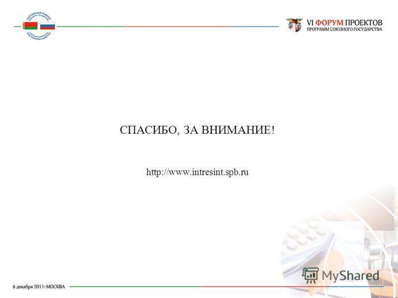СПАСИБО, ЗА ВНИМАНИЕ! http://www.intresint.spb.ru