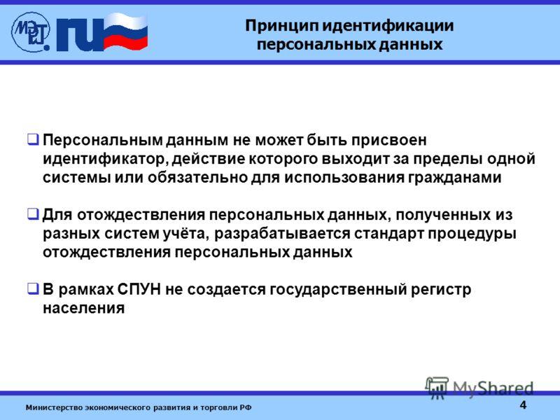 Министерство экономического развития и торговли РФ 4 Принцип идентификации персональных данных Персональным данным не может быть присвоен идентификатор, действие которого выходит за пределы одной системы или обязательно для использования гражданами Д