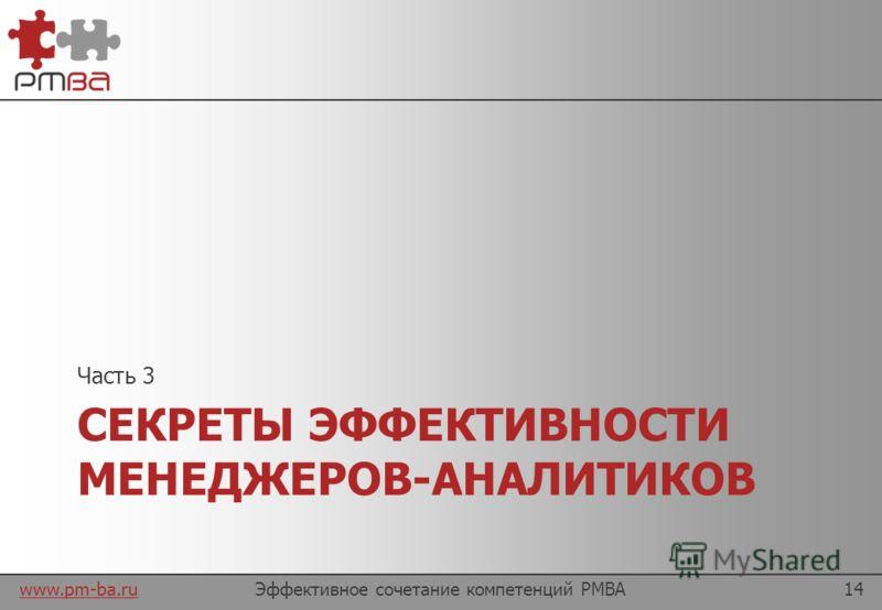 www.pm-ba.ru Выводы Эффективное сочетание компетенций PMBA13