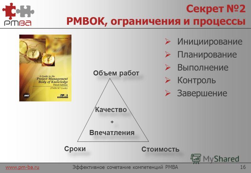 www.pm-ba.ru Секрет 1 Ключевые компетенции Ключевой секрет эффективности – сочетание Управленческих навыков С умением структурировать и анализировать Эффективное сочетание компетенций PMBA15