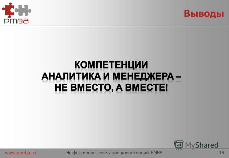 www.pm-ba.ru Объединяем вместе Эффективное сочетание компетенций PMBA18 Ориентация на цели Согласованность