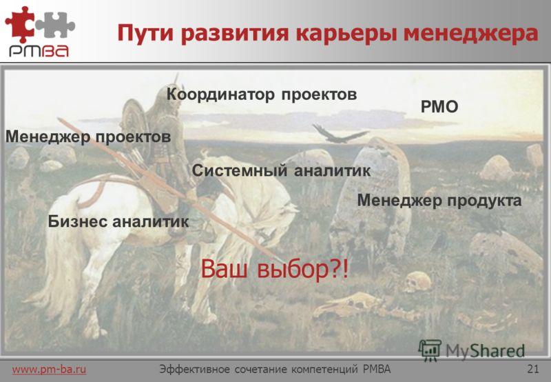www.pm-ba.ru ПЛАН ДЕЙСТВИЙ КАК СТАТЬ МЕНЕДЖЕРОМ-АНАЛИТИКОМ Часть 4 Эффективное сочетание компетенций PMBA20