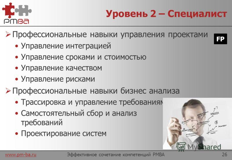 www.pm-ba.ru Уровень 1 – Ученик Базовые навыки управления проектами Управление содержанием Управление коммуникациями Управление ресурсами Планирование и мониторинг работ на низко-рисковых, типовых проектах Базовые навыки бизнес анализа Формулирование