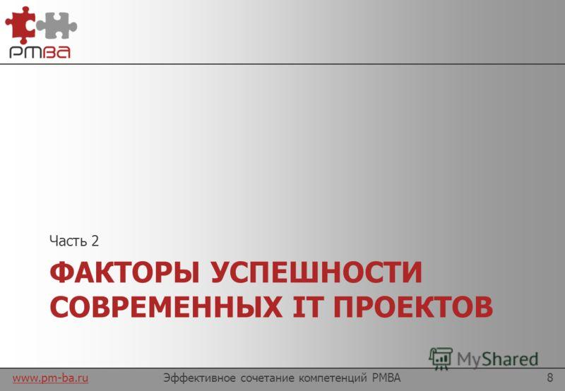 www.pm-ba.ru Содержание презентации Эффективное сочетание компетенций PMBA7 Факторы успеха IT проектов и влияние на них PMBA Секреты эффективности менеджеров-аналитиков План действий как стать менеджером-аналитиком в IT