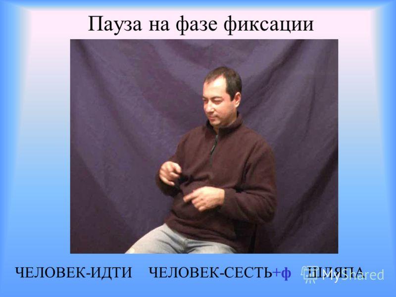 Пауза на фазе фиксации ЧЕЛОВЕК-ИДТИ ЧЕЛОВЕК-СЕСТЬ+ф ШЛЯПА