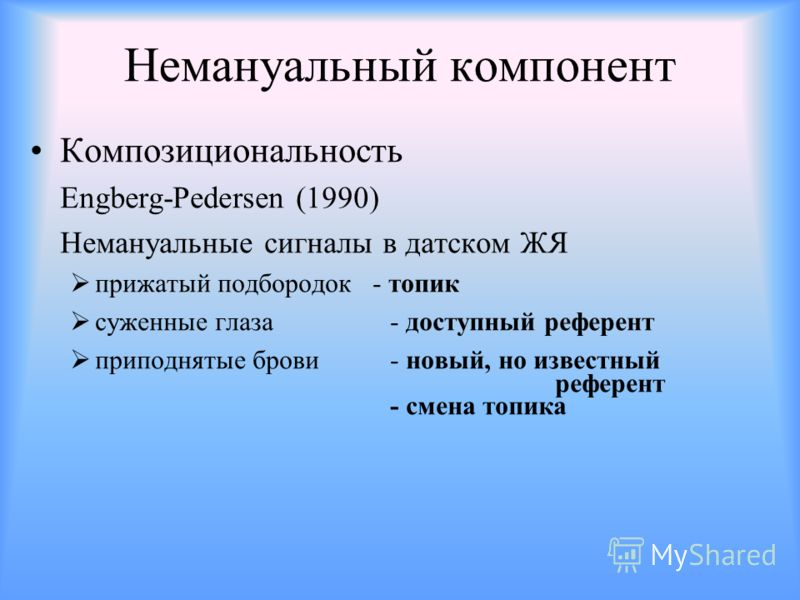 Немануальный компонент Композициональность Engberg-Pedersen (1990) Немануальные сигналы в датском ЖЯ прижатый подбородок - топик суженные глаза - доступный референт приподнятые брови - новый, но известный референт - смена топика