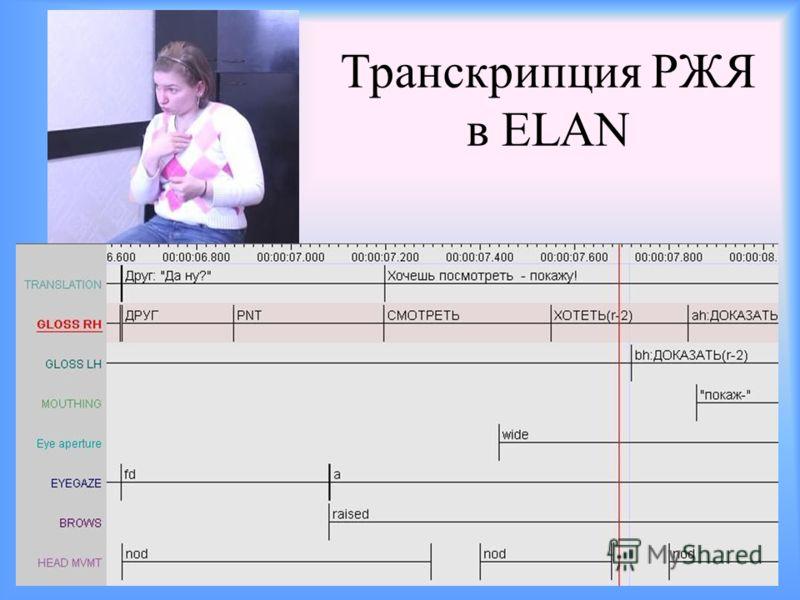 Транскрипция РЖЯ в ELAN
