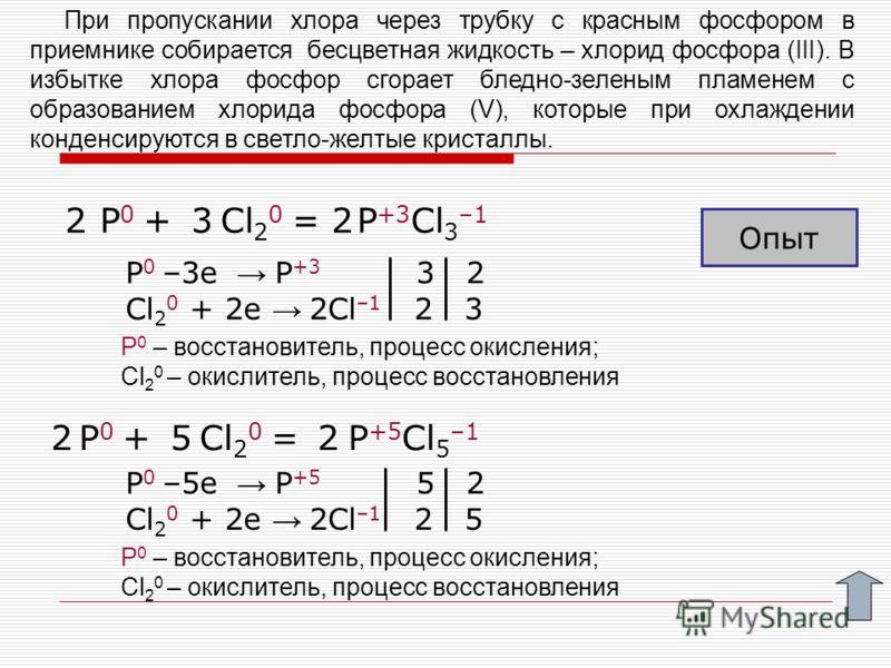 P 0 + Cl 2 0 = P +3 Cl 3 –1 P 0 + Cl 2 0 = P +5 Cl 5 –1 P 0 –3e P +3 3 2 Cl 2 0 + 2e 2Cl –1 2 3 52 P 0 –5e P +5 5 2 Cl 2 0 + 2e 2Cl –1 2 5 2 2 3 При пропускании хлора через трубку с красным фосфором в приемнике собирается бесцветная жидкость – хлорид