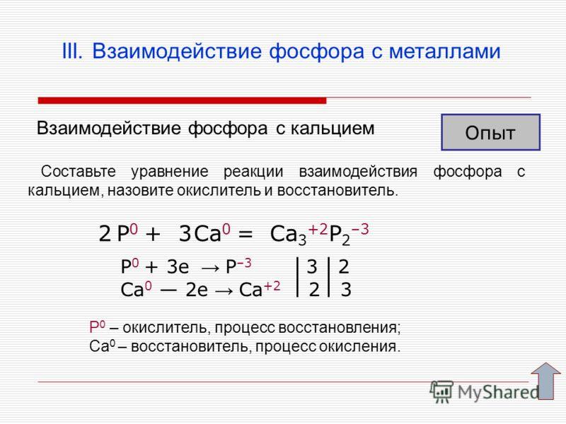 III. Взаимодействие фосфора с металлами Взаимодействие фосфора с кальцием Опыт Составьте уравнение реакции взаимодействия фосфора с кальцием, назовите окислитель и восстановитель. P 0 + Ca 0 = Ca 3 +2 P 2 –3 P 0 + 3e P –3 3 2 Ca 0 2e Ca +2 2 3 23 Р 0
