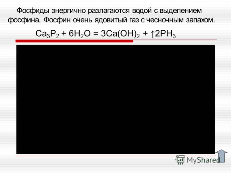 Фосфиды энергично разлагаются водой с выделением фосфина. Фосфин очень ядовитый газ с чесночным запахом. Ca 3 P 2 + 6H 2 O = 3Ca(OH) 2 + 2PH 3