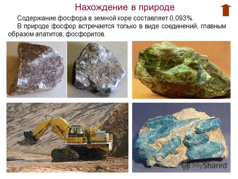 Нахождение в природе Содержание фосфора в земной коре составляет 0,093%. В природе фосфор встречается только в виде соединений, главным образом апатитов, фосфоритов.