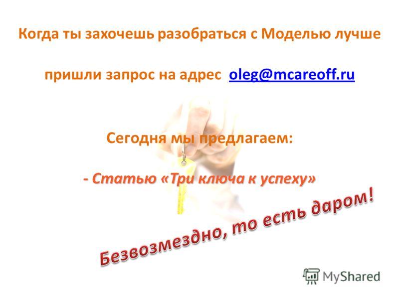 Когда ты захочешь разобраться с Моделью лучше пришли запрос на адрес oleg@mcareoff.ruoleg@mcareoff.ru Сегодня мы предлагаем: - Статью «Три ключа к успеху»