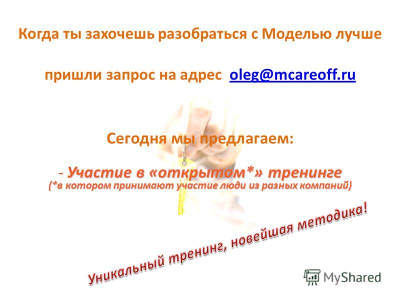 Когда ты захочешь разобраться с Моделью лучше пришли запрос на адрес oleg@mcareoff.ruoleg@mcareoff.ru Сегодня мы предлагаем: - Участие в «открытом*» тренинге (*в котором принимают участие люди из разных компаний)