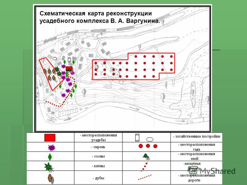 Схематическая карта реконструкции усадебного комплекса В. А. Варгунина.