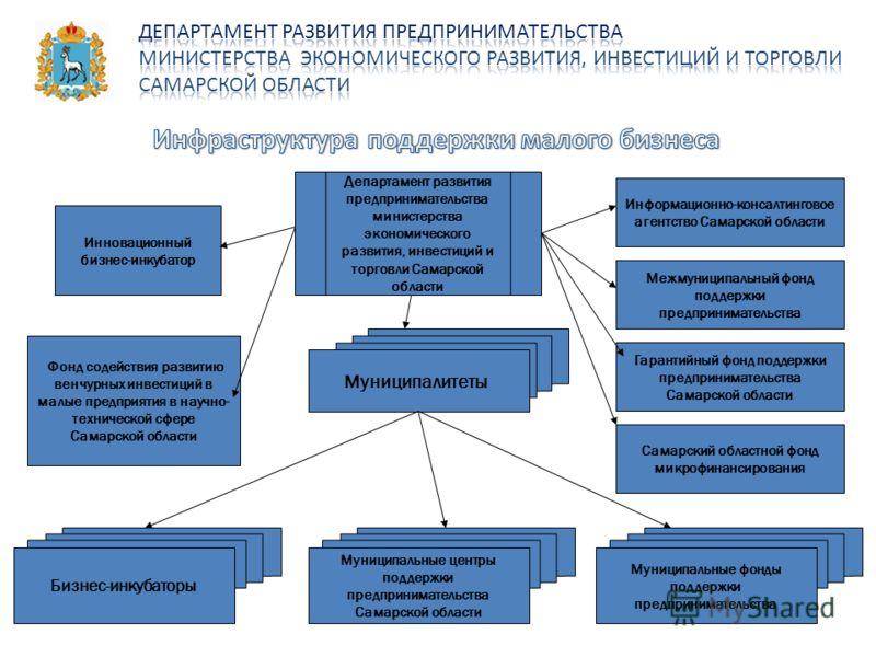 Департамент развития предпринимательства министерства экономического развития, инвестиций и торговли Самарской области Инновационный бизнес-инкубатор Информационно-консалтинговое агентство Самарской области Межмуниципальный фонд поддержки предпринима