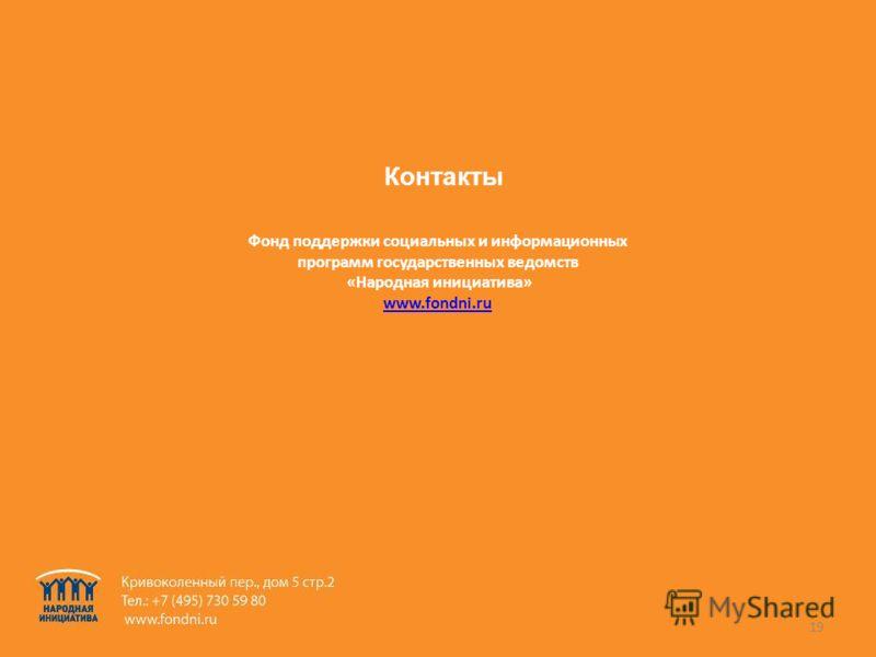 19 Фонд поддержки социальных и информационных программ государственных ведомств «Народная инициатива» www.fondni.ru Контакты