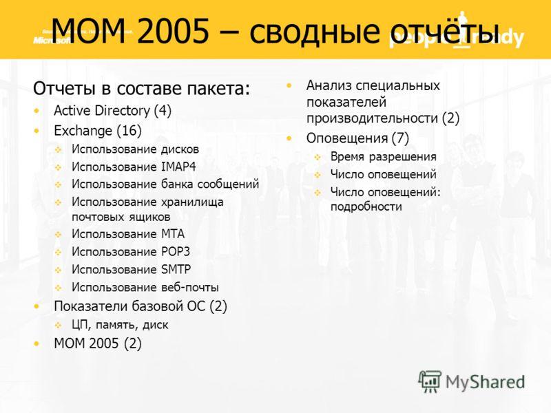 Отчеты в составе пакета: Active Directory (4) Exchange (16) Использование дисков Использование IMAP4 Использование банка сообщений Использование хранилища почтовых ящиков Использование МТА Использование РОР3 Использование SMTP Использование веб-почты
