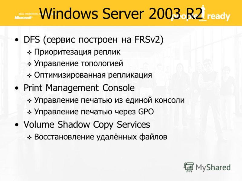Windows Server 2003 R2 DFS (сервис построен на FRSv2) Приоритезация реплик Управление топологией Оптимизированная репликация Print Management Console Управление печатью из единой консоли Управление печатью через GPO Volume Shadow Copy Services Восста