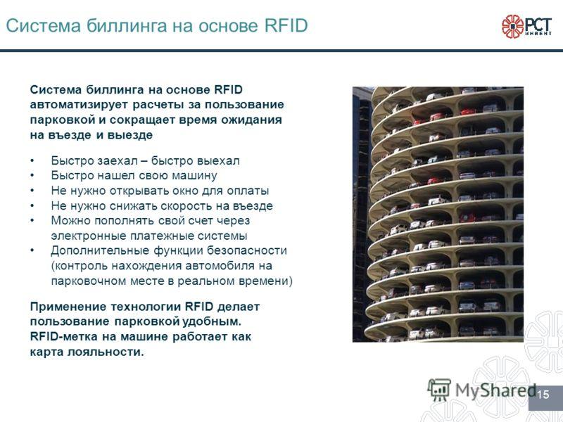 Система биллинга на основе RFID Быстро заехал – быстро выехал Быстро нашел свою машину Не нужно открывать окно для оплаты Не нужно снижать скорость на въезде Можно пополнять свой счет через электронные платежные системы Дополнительные функции безопас