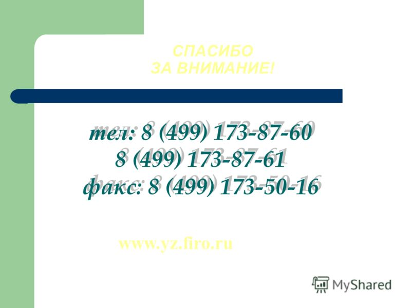 тел: 8 (499) 173-87-60 8 (499) 173-87-61 факс: 8 (499) 173-50-16 тел: 8 (499) 173-87-60 8 (499) 173-87-61 факс: 8 (499) 173-50-16 СПАСИБО ЗА ВНИМАНИЕ! www.yz.firo.ru