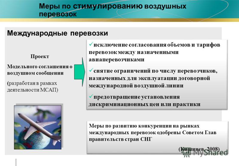 Меры по стимулированию воздушных перевозок Международные перевозки исключение согласования объемов и тарифов перевозок между назначенными авиаперевозчиками снятие ограничений по числу перевозчиков, назначенных для эксплуатации договорной международно