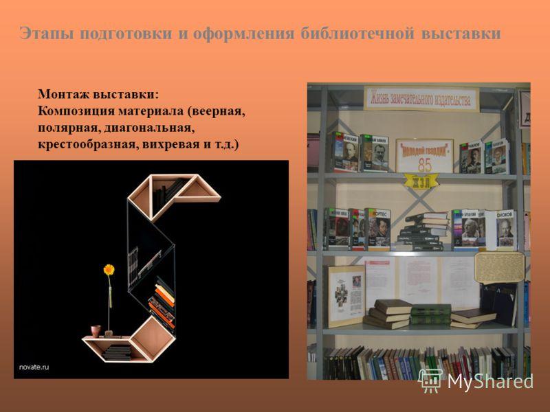 Монтаж выставки: Композиция материала (веерная, полярная, диагональная, крестообразная, вихревая и т.д.) Этапы подготовки и оформления библиотечной выставки