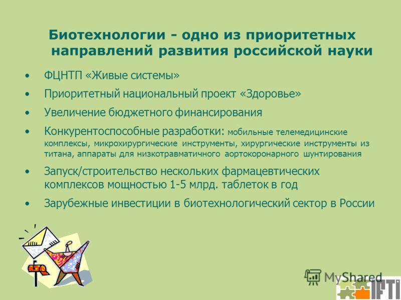 Биотехнологии - одно из приоритетных направлений развития российской науки ФЦНТП «Живые системы» Приоритетный национальный проект «Здоровье» Увеличение бюджетного финансирования Конкурентоспособные разработки: мобильные телемедицинские комплексы, мик