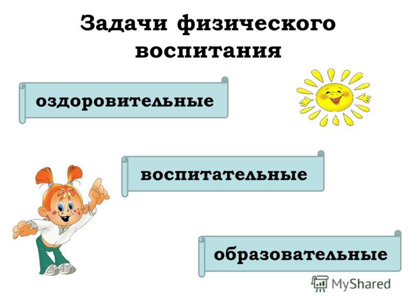 оздоровительные образовательные воспитательные Задачи физического воспитания