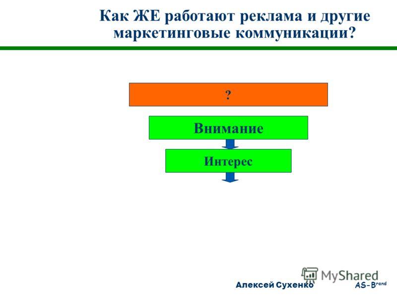 Алексей Сухенко AS-B rand Как ЖЕ работают реклама и другие маркетинговые коммуникации? ? Внимание Интерес