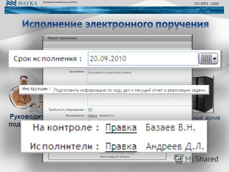 ТЕХНОЛОГИЯ ИНФОРМАТИКА КОНТРОЛЬ ISO 9001 : 2000 Ответственный за исполнение Исполнитель контроль исполнение замечания Электронный архив отчет Руководитель подразделения