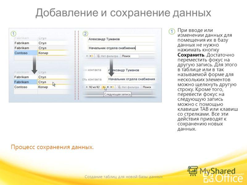 Добавление и сохранение данных Создание таблиц для новой базы данных Процесс сохранения данных. При вводе или изменении данных для помещения их в базу данных не нужно нажимать кнопку Сохранить. Достаточно переместить фокус на другую запись. Для этого