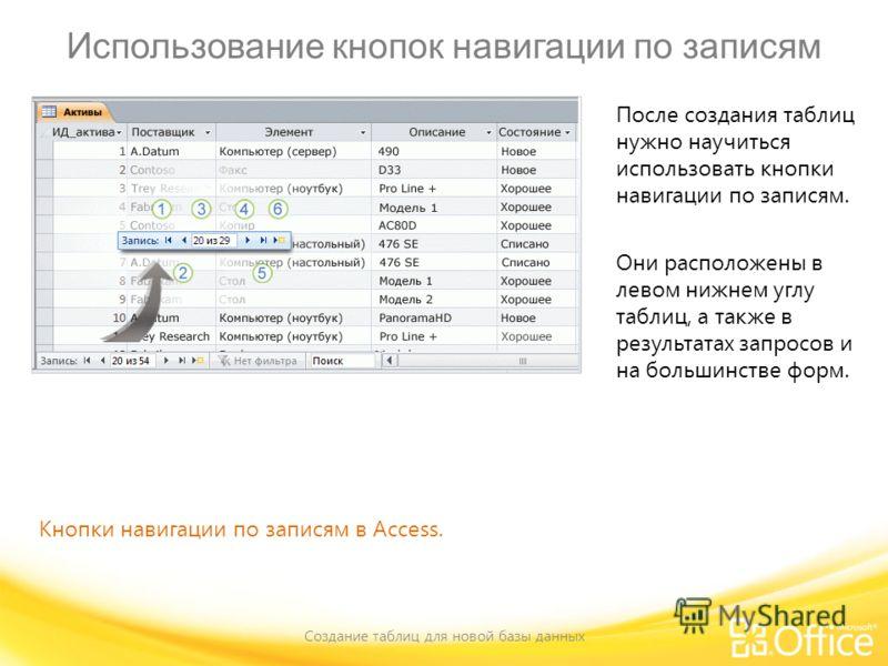Использование кнопок навигации по записям Создание таблиц для новой базы данных Кнопки навигации по записям в Access. После создания таблиц нужно научиться использовать кнопки навигации по записям. Они расположены в левом нижнем углу таблиц, а также