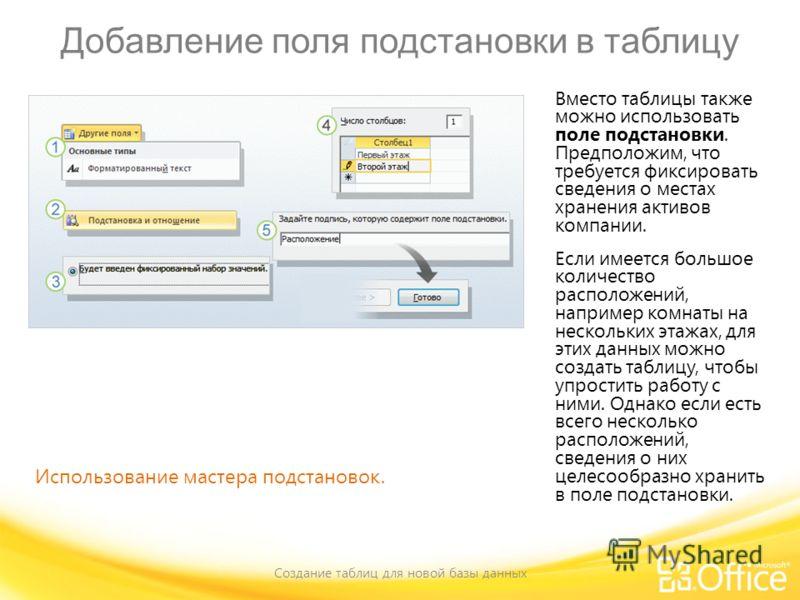 Добавление поля подстановки в таблицу Создание таблиц для новой базы данных Использование мастера подстановок. Вместо таблицы также можно использовать поле подстановки. Предположим, что требуется фиксировать сведения о местах хранения активов компани