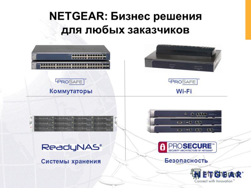 NETGEAR: Бизнес решения для любых заказчиков Коммутаторы Системы хранения Wi-Fi Безопасность