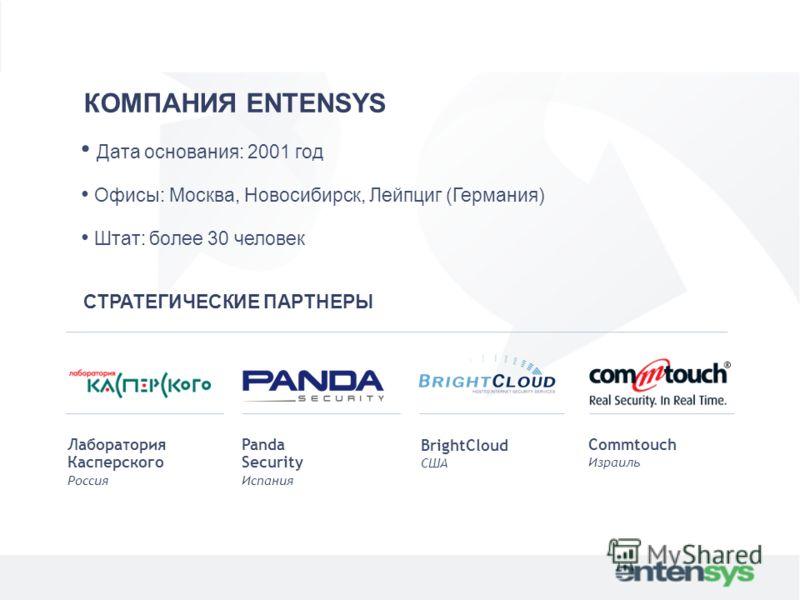КОМПАНИЯ ENTENSYS Дата основания: 2001 год Офисы: Москва, Новосибирск, Лейпциг (Германия) Штат: более 30 человек СТРАТЕГИЧЕСКИЕ ПАРТНЕРЫ Лаборатория Касперского Россия Panda Security Испания BrightCloud США Commtouch Израиль