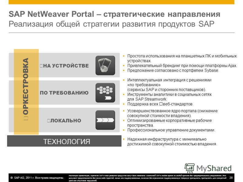 ©SAP AG, 2011 г. Все права защищены.28 SAP NetWeaver Portal – стратегические направления Реализация общей стратегии развития продуктов SAP НА УСТРОЙСТВЕ ПО ТРЕБОВАНИЮ ЛОКАЛЬНО ОРКЕСТРОВКА ТЕХНОЛОГИЯ Усовершенствованное ядро портала (снижение совокупн