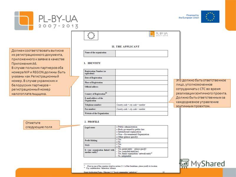 Отметьте следующие поля Должен соответствовать выписке из регистрационного документа, приложенного к заявке в качестве Приложения A6. В случае польских партнеров оба номера NIP и REGON должны быть указаны как Регистрационный номер. В случае украински