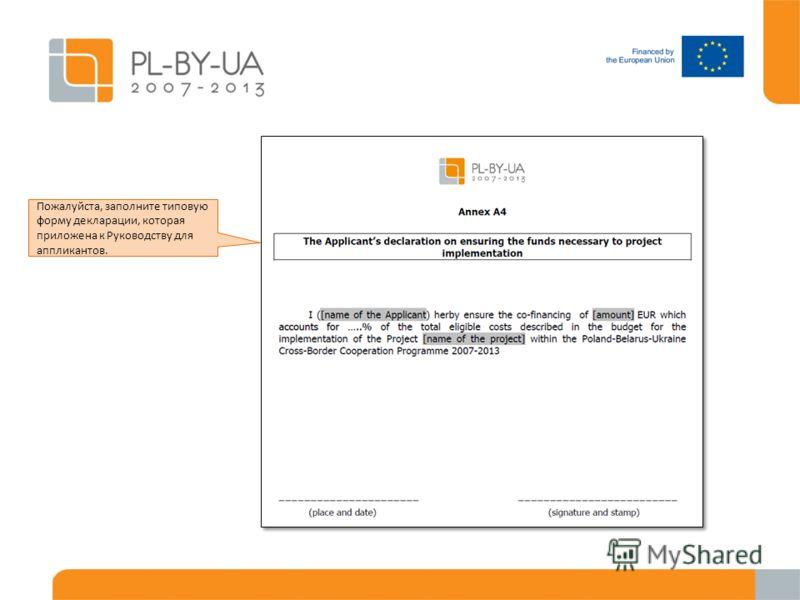 Пожалуйста, заполните типовую форму декларации, которая приложена к Руководству для аппликантов.