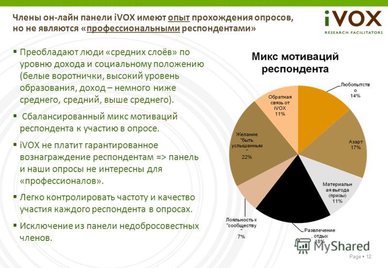 Page 12 Члены он-лайн панели iVOX имеют опыт прохождения опросов, но не являются «профессиональными респондентами» Преобладают люди «средних слоёв» по уровню дохода и социальному положению (белые воротнички, высокий уровень образования, доход – немно