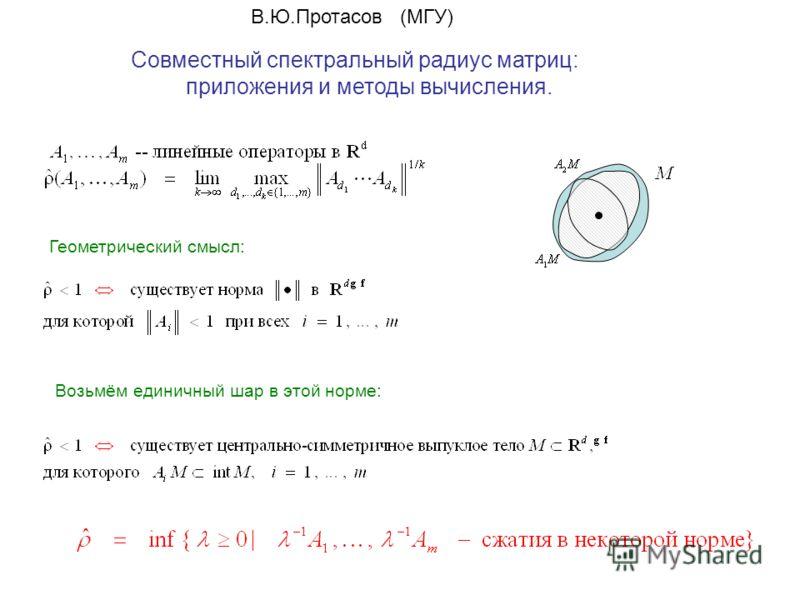 Совместный спектральный радиус матриц: приложения и методы вычисления. В.Ю.Протасов (МГУ) Геометрический смысл: Возьмём единичный шар в этой норме: