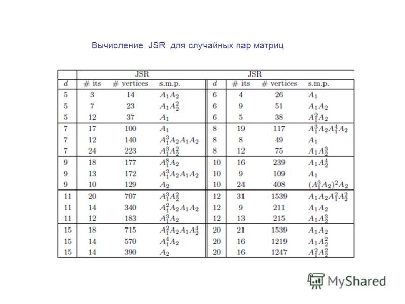 Вычисление JSR для случайных пар матриц