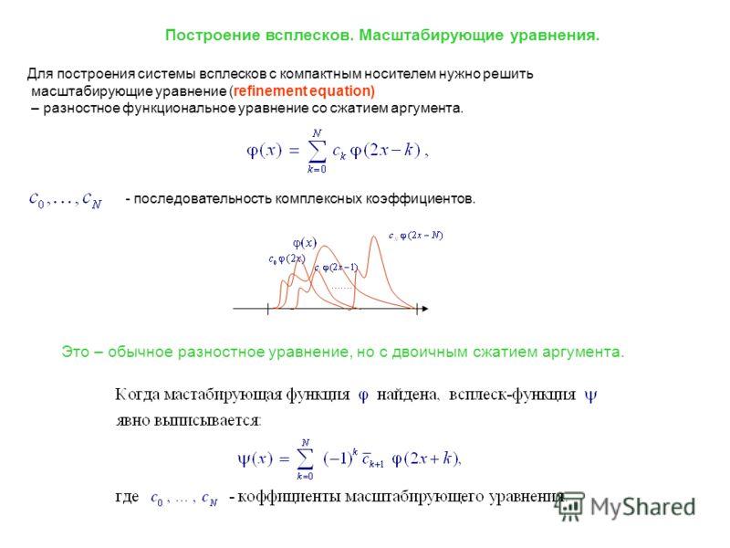 Для построения системы всплесков с компактным носителем нужно решить масштабирующие уравнение (refinement equation) – разностное функциональное уравнение со сжатием аргумента. - последовательность комплексных коэффициентов. Это – обычное разностное у
