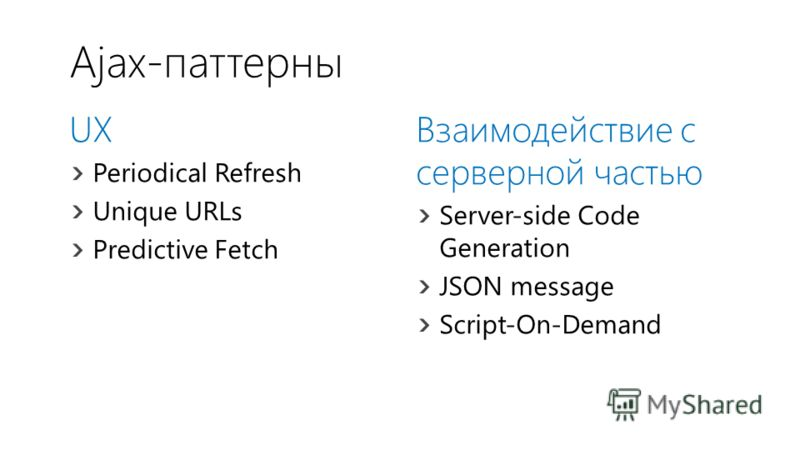 Ajax-паттерны UX Periodical Refresh Unique URLs Predictive Fetch Взаимодействие с серверной частью Server-side Code Generation JSON message Script-On-Demand