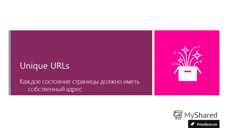 #msdevcon Каждое состояние страницы должно иметь собственный адрес Unique URLs