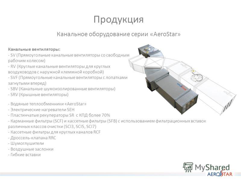 Продукция Канальное оборудование серии «AeroStar» Канальные вентиляторы: - SV (Прямоугольные канальные вентиляторы со свободным рабочим колесом) - RV (Круглые канальные вентиляторы для круглых воздуховодов с наружной клеммной коробкой) - SVF (Прямоуг