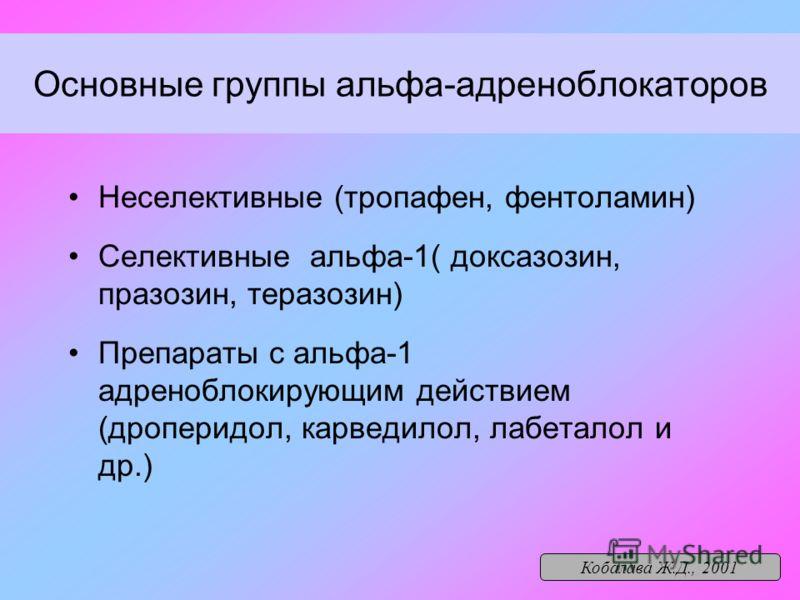 Основные группы альфа-адреноблокаторов Неселективные (тропафен, фентоламин) Селективные альфа-1( доксазозин, празозин, теразозин) Препараты с альфа-1 адреноблокирующим действием (дроперидол, карведилол, лабеталол и др.) Кобалава Ж.Д., 2001