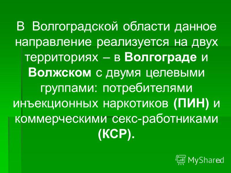 13 В Волгоградской области данное направление реализуется на двух территориях – в Волгограде и Волжском с двумя целевыми группами: потребителями инъекционных наркотиков (ПИН) и коммерческими секс-работниками (КСР).