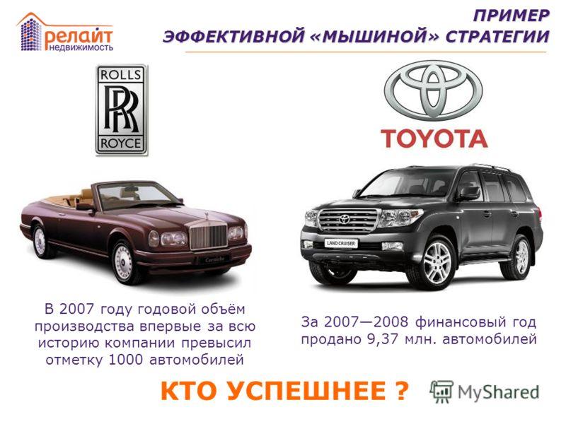 В 2007 году годовой объём производства впервые за всю историю компании превысил отметку 1000 автомобилей За 20072008 финансовый год продано 9,37 млн. автомобилей ПРИМЕР ЭФФЕКТИВНОЙ «МЫШИНОЙ» СТРАТЕГИИ КТО УСПЕШНЕЕ ?